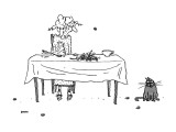 An elderly woman sitting at the dinner table using her spoon to catapault … - New Yorker Cartoon Premium Giclee Print by George Booth