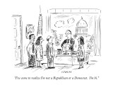 """I've come to realize I'm not a Republican or a Democrat. I'm bi."" - New Yorker Cartoon Premium Giclee Print by David Sipress"