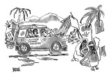 Lawyers travel through third world country in a jeep with the words LAWYER… - New Yorker Cartoon Premium Giclee Print by Brian Savage