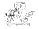 Receiving the Early-Morning T-Mail - New Yorker Cartoon Premium Giclee Print by Sidney Harris