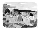Two cavemen carry a pair of olives towards a giant martini glass outside t… - New Yorker Cartoon Premium Giclee Print by Danny Shanahan