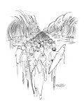 Moses parting the sea is followed by man with surf board. - New Yorker Cartoon Premium Giclee Print by Mischa Richter