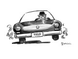 "Man in speeding car with license plate ""Yield"". - New Yorker Cartoon Premium Giclee Print by Eldon Dedini"