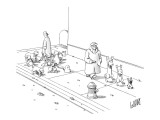 One dog walker with leashed dogs, another walking the dogs at gun point. - New Yorker Cartoon Premium Giclee Print by Glen Le Lievre