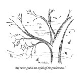 """My career goal is not to fall off the goddam tree."" - New Yorker Cartoon Premium Giclee Print by Stuart Leeds"
