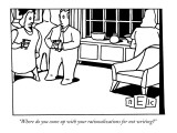 """Where do you come up with your rationalizations for not writing?"" - New Yorker Cartoon Premium Giclee Print by Bruce Eric Kaplan"
