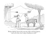 """Being a hybrid, I get to have my way with a variety of species, and at th…"" - New Yorker Cartoon Premium Giclee Print by Jack Ziegler"