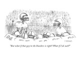 """""""But what if that guy in the bleachers is right? What if I do suck?"""" - New Yorker Cartoon Premium Giclee Print by Pat Byrnes"""