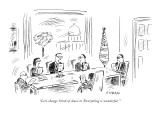 """Let's change 'brink of chaos' to 'Everything is wonderful.'"" - New Yorker Cartoon Premium Giclee Print by David Sipress"