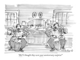 """""""Me? I thought they were your anniversary surprise!"""" - New Yorker Cartoon Premium Giclee Print by Michael Crawford"""