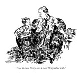 """Yes, I do make things, son. I make things called deals."" - New Yorker Cartoon Premium Giclee Print by William Hamilton"
