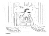Mafia businessman with in and out boxes labeled 'Bada-Bing!,' and 'Bada-Bo… - New Yorker Cartoon Premium Giclee Print by Robert Mankoff