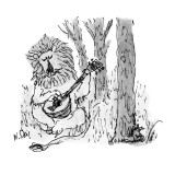 Lion playing guitar to mouse. - New Yorker Cartoon Premium Giclee Print by William Steig
