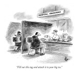 """Fill out this tag and attach it to your big toe."" - New Yorker Cartoon Premium Giclee Print by Frank Cotham"