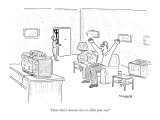 """""""Dear, there's someone here to collect your soul."""" - New Yorker Cartoon Premium Giclee Print by Robert Mankoff"""
