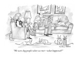 """We were dog people when we met—what happened?"" - New Yorker Cartoon Premium Giclee Print by Victoria Roberts"