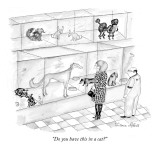 """Do you have this in a cat?"" - New Yorker Cartoon Premium Giclee Print by Victoria Roberts"
