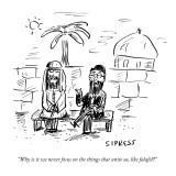 """Why is it we never focus on the things that unite us, like falafel?"" - New Yorker Cartoon Premium Giclee Print by David Sipress"