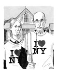 Grant Woods&#39; &#39;American Gothic&#39; couple dressed in I Love NY t-shirts. - New Yorker Cartoon Premium Giclee Print by Marisa Acocella Marchetto