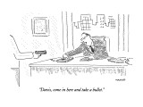 """""""Davis, come in here and take a bullet."""" - New Yorker Cartoon Premium Giclee Print by Robert Mankoff"""