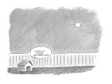 A thought bubble from a doghouse under a full moon says, 'I Really Should … - New Yorker Cartoon Premium Giclee Print by Mick Stevens