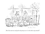 """Am I the smart one and you're the pretty one or is it the other way aroun…"" - New Yorker Cartoon Premium Giclee Print by Barbara Smaller"