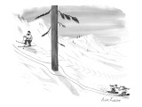 Two snowboarders ski around a tree as a skier looks on. - New Yorker Cartoon Premium Giclee Print by Mort Gerberg