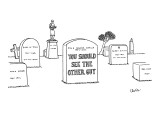 Epitaph on gravestone boasts 'You Should See the Other Guy.' - New Yorker Cartoon Premium Giclee Print by Eric Lewis