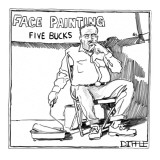 Man with a paint roller and a sign that reads, 'Face Painting Five Bucks.' - New Yorker Cartoon Premium Giclee Print by Matthew Diffee