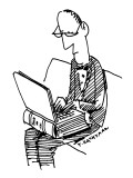 A man sits working on a laptop computer that looks like an old-fashioned b… - New Yorker Cartoon Premium Giclee Print by Tom Hachtman