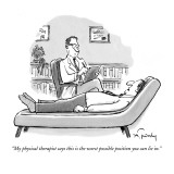 """My physical therapist says this is the worst possible position you can li…"" - New Yorker Cartoon Premium Giclee Print by Mike Twohy"