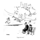 &quot;I love this town!&quot; - New Yorker Cartoon Premium Giclee Print by George Booth