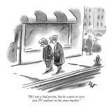 """""""He's not a bad person, but he wants to own two TV stations in the same ma…"""" - New Yorker Cartoon Premium Giclee Print by Frank Cotham"""
