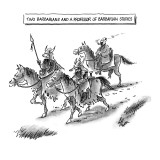 Two Barbarians and a Professor of Barbarian Studies - New Yorker Cartoon Premium Giclee Print by Frank Cotham