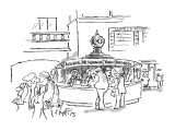 Information desk at train station has names of Internet search engines. Al… - New Yorker Cartoon Premium Giclee Print by Sidney Harris