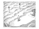 International 'man' and 'woman' symbols on poles in water, indicate bathro… - New Yorker Cartoon Premium Giclee Print by John O'brien