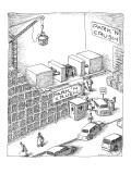 Cars go to parking lot which crushes them into little, stackable boxes. - New Yorker Cartoon Premium Giclee Print by John O'brien
