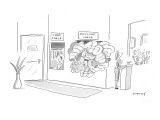 "A normal coat check is next to a ""puffy coat check"" overflowing with puffy… - New Yorker Cartoon Premium Giclee Print by Liza Donnelly"