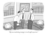 """""""My new marketing strategy is to sell stuff to you two."""" - New Yorker Cartoon Premium Giclee Print by Peter C. Vey"""