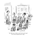 """Hi. My name is Barry, and I check my E-mail two to three hundred times a …"" - New Yorker Cartoon Premium Giclee Print by David Sipress"