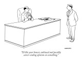 """""""I'd like your honest, unbiased and possibly career-ending opinion on some…"""" - New Yorker Cartoon Premium Giclee Print by Alex Gregory"""