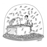Computer geek sits inside snow globe. Instead of snow, money is falling al… - New Yorker Cartoon Premium Giclee Print by Tom Cheney