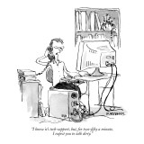"""I know it's tech-support, but, for two-fifty a minute, I expect you to ta…"" - New Yorker Cartoon Premium Giclee Print by Pat Byrnes"