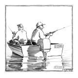 Two fisherman in a boat with a bumper sticker that reads 'I'd Rather Be Hu… - New Yorker Cartoon Premium Giclee Print by Matthew Diffee