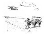 Chauffeur for the Wright Brothers waits for landing airplane with a sign t… - New Yorker Cartoon Premium Giclee Print by Sidney Harris