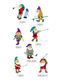 The seven dwarves depicted as golfers with the names, 'Slicey,' 'Hooky,' '… - New Yorker Cartoon Premium Giclee Print by Alex Gregory