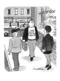 Man walking down the street wearing a t-shirt that reads 'I Have Mixed Fee… - New Yorker Cartoon Premium Giclee Print by J.B. Handelsman