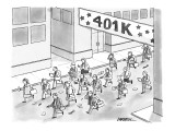Businessmen and women walking a street race called the 401K. - New Yorker Cartoon Premium Giclee Print by C. Covert Darbyshire