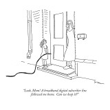"""Look, Mom! A broadband digital subscriber line followed me home.  Can we …"" - New Yorker Cartoon Premium Giclee Print by Michael Shaw"