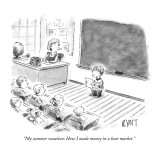 """""""My summer vacation: How I made money in a bear market."""" - New Yorker Cartoon Premium Giclee Print by Christopher Weyant"""